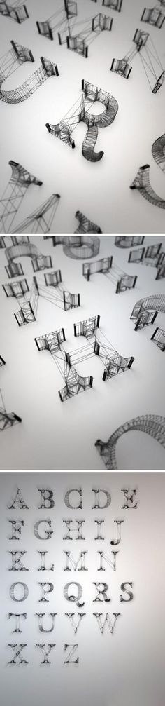 British designer Dan Hoopert design lines of letters in 3d.