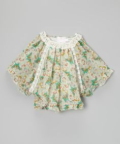 Another great find on #zulily! Green & White Butterfly Top - Toddler & Girls by Blossom Couture #zulilyfinds