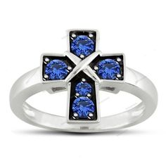 0.30CT Blue Sapphire Prong Setting 925 Silver Cross Style White Gp Plain Ring…