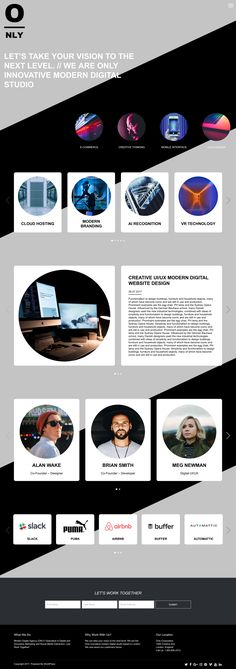 'Only' is a One Page WordPress theme suited for a freelancer portfolio. Features include (trendy) diagonal lines, card-style elements, an off-canvas navigation menu, big image slider pop-up portfolio section, blog feed, team and a newsletter sign up box. This is Dessign's follow up to their popular Page Down theme.