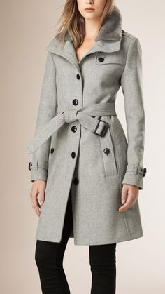Wool Blend Trench Coat with Shearling Collar | Burberry