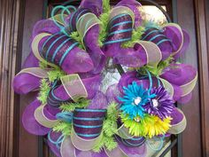 Flowered Spring and Summer Deco Mesh Wreath by myfriendbo on Etsy, $60.00