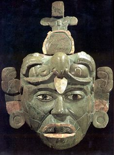 (Art) Along with paintings, sculptures, and pottery, mask-making was also a big part of the art culture in Maya civilization. Masks symbolized a role of authority (like for kings an priests). Jade was often used to create masks and other forms of art. Mayan History, Art History, Mayan Mask, Arte Latina, Maya Civilization, Aztec Culture, Aztec Art, Mesoamerican, Ancient Aliens