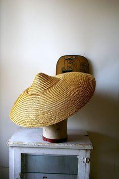 Vintage Asian Inspired Asymmetrical Straw Hat - Mid Century 1950's