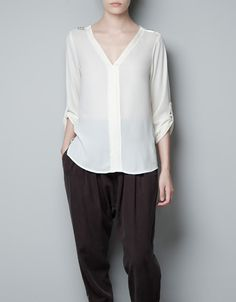 BLOUSE WITH STUDDED SHOULDER - Shirts - Woman - ZARA Canada