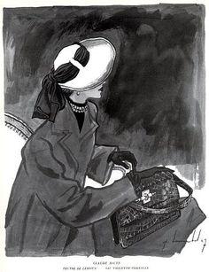 Claude St Cyr (Hat), Violette Cornille (Handbag) 1947, illustrated by Pierre Louchel