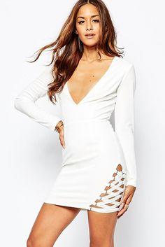 a63ca50c44173 White Elastic Hem Mini Bodycon Dress MAVERLLY Unique Formal Dresses