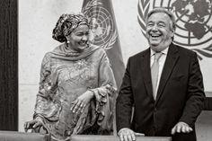 3 janvier 2017 – Premier jour de travail pour le nouveau Secrétaire général António Guterres et la Vice-Secrétaire générale Amina J. Mohammed. Cet instant de complicité a été capturé par le photographe de l'ONU Mark Garten, au Siège de l'ONU à New York.