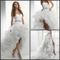 High Slae 2012 Sexy Hi-low Bridal Gowns Organza Bubble Hem Lace Up Back Wedding Dresses