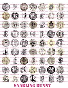 Great monogram initials 126 letters. A B C D E F G H I J K L M N O P Q R S T U V W X Y Z. Good for buttons, bottle caps, jewelry, cake toppers, stickers, scrapbooking, diy crafts, etc!