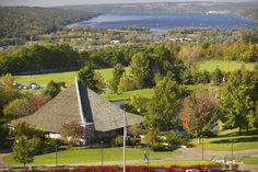 Ithaca College Campus - Looking north toward downtown Ithaca and Cayuga Lake