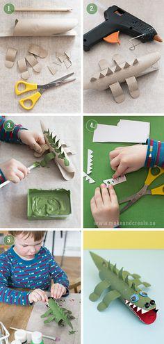 Krokodil av hushållsrullarHärom dagen hade jag pysselsällskap av en kreativ liten kille som heter Henry, snart 4 år gammal. Vi bestämde oss för att göra en krokodil av en tomma...