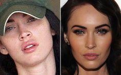 Comparando os dois looks de Megan Fox, percebe-se um ótimo truque de maquiagem: aplicar o blush na diagonal do rosto pode deixá-lo mais fino!   Celebridades com e sem make - Beleza - CAPRICHO