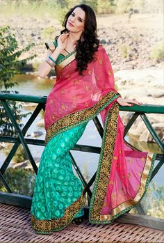 USD 68.29 Pink and Teal Blue Silk Border Work Wedding Saree 30458