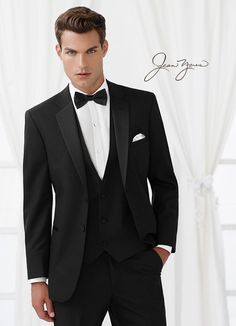 Slim Fit Black Two-Button Tuxedo by Jean Yves®