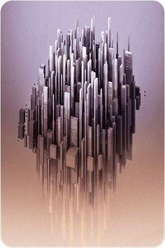 Floating City - Voxel art on Behance