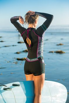 Title Nine: Spring Shortie Wetsuit - Print - The sun's out, but the water and wind still leave us chilly. So, we need a little extra warmth for our hours in the water. The Spring Shortie women's wetsuit delivers: the upper body warmth and coverage we want Sporty Swimwear, Athletic Swimwear, Women's Swimwear, Shark Bathing Suits, Bathing Suits One Piece, Sup Stand Up Paddle, Moda Outfits, Neoprene, Womens Wetsuit