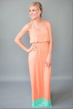 Peach Malibu maxi dress
