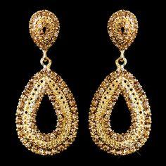 Gold Rhinestone Wedding or Prom Earrings--Affordable Elegance Bridal - Bridal Hair Accessories, Wedding Jewelry, Jewelry Accessories, Rhinestone Wedding, Gold Rhinestone, Rhinestones, Prom Earrings, Wedding Earrings, Ear Jewelry