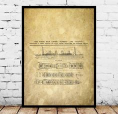 R.M.S. Titanic Patent, R.M.S. Titanic Poster, R.M.S. Titanic Blueprint,  R.M.S. Titanic Print, R.M.S. Titanic Art, R.M.S. Titanic Decor by STANLEYprintHOUSE  3.00 USD  We use only top quality archival inks and heavyweight matte fine art papers and high end printers to produce a stunning quality print that's made to last.  Any of these posters will make a great affordable gift, or tie any room together.  Please choose between different sizes and col ..  https://www.etsy.com/ca/listi..