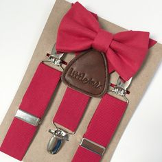 Red Suspenders w/Christmas Red Bow Tie
