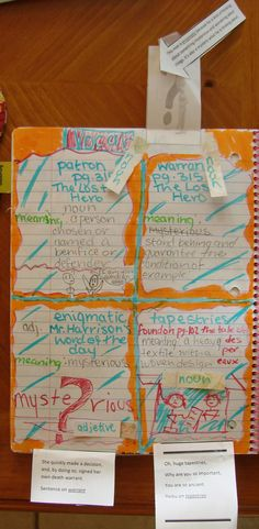 """6th grader--Natalie--is experimenting with creating interactive elements as part of her vocabulary section.  Here is a page where the meaningful vocabulary activities are attached as """"fold outs.""""    The lesson I used to inspire these student collections can be found here:  http://corbettharrison.com/free_lessons/Boy-Who-Loved-Words.htm"""