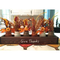 Fall Centerpiece Table Centerpiece Planter Box Thanksgiving Decor Box... ($28) ❤ liked on Polyvore featuring home, home decor, small item storage, grey, home & living, home décor, vases, wood box, thanksgiving centerpieces and wooden centerpieces