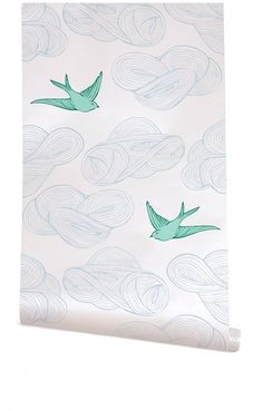 "Hygge & West | Daydream (Almost White/Green) Daydream"" wallpaper by Julia Rothman for Hygge & West"