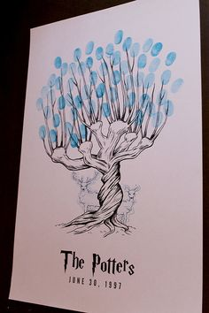 Whomping Willow Harry Potter Custom Thumbprint Fingerprint Tree Guest Book Print SO THIS IS HAPPENING