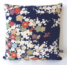 Double Fronted Cushion in a Cherry Blossom Floral Vintage Japanese Kimono Silk in Navy Blue & Cream 35x35cm NEW COLLECTION