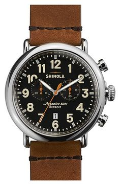 Shinola 'The Runwell Chrono' Leather Strap Watch, 47mm