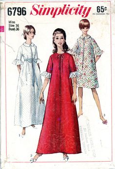 Simplicity 6796 Robe pattern size 16 date 1960s