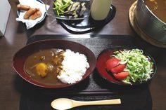 """Dinner for a day with Saki and OKI. The menu is """"CURRY RICE""""1 The menu is Japanese curry and rice(Japanese""""curry-rice""""). An origin is called British beef stew. The used ingredients are same and are about the difference between the demiglace sauce and the curry sauce. There is """"NIKUJAGA"""" in a dish with the same origination. The one by which that seemed to be Japanese and gave the flavor by soy sauce, liquor and sugar by the same ingredients."""