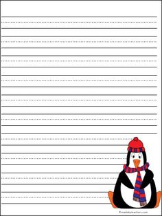 This is a FREE colorful penguin writing template on Madebyteachers.com. The lines are large for print practice.