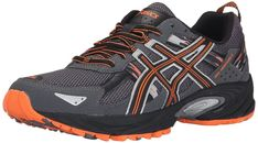 ASICS Men's GEL Venture 5 Running Shoe, Carbon/Black/Hot Orange, 8 M US: The GEL-Venture 5 provides great fit and everyday comfort, with Rearfoot GEL Cushioning and a rugged outsole ideal for a variety of terrains. Best Trail Running Shoes, Trail Shoes, Running Shoes For Men, Mens Running, Best Shoes For Bunions, Mens Walking Shoes, Asics Running Shoes, Running For Beginners, Asics Men