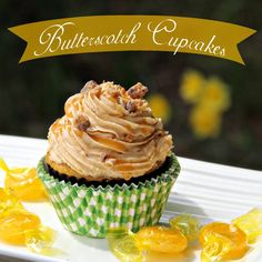Butterscotch Cupcakes - made with boxed cake mix, butterscotch pudding mix and jelly