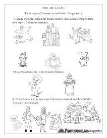 Fise de lucru - gradinita: FISE de LUCRU pentru copiii de gradinita cu tema FAMILIA MEA Diy And Crafts, Diagram, Kids, School, Children, Boys, Children's Comics, Boy Babies, Kid