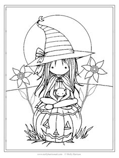 Tiny Witch and Cat 2 - Coloring Page - Printable - Whimsical Fun Witch - Jack-o-lantern - Molly Harr Batman Coloring Pages, Halloween Coloring Pages, Disney Coloring Pages, Coloring Book Pages, Coloring Sheets, Desenhos Halloween, Manualidades Halloween, Doodle Coloring, Adult Coloring Pages