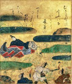 Musashino, Tales of Ise, episode 12. 俵屋宗達 Tawaraya Sōtatsu (act. ca. 1600–40). Japan, early to mid-17th century. Poetry sheet mounted as hanging scroll. Idemitsu Museum of Art, Tokyo.