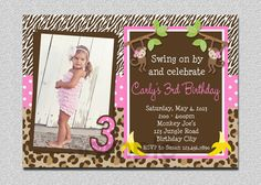 Monkey Birthday Invitation Monkey Birthday by The Trendy Butterfly