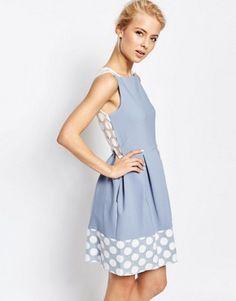 Closet Box Pleat Dress With Spotted Lace Hem