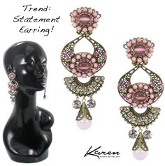 Trend: Statement Earring! Old gold filigree with crystal and pink stone embellishment by Karen McFarlane. http://jewellerybykaren.com/bout…/new-designs/earrings-1070e