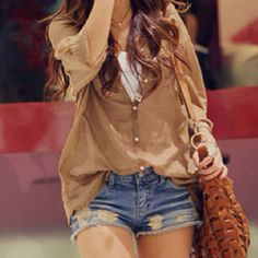 loose shirt, worn jean shorts ( this outfit would look even better if the shirt were a beachy yellow!!)