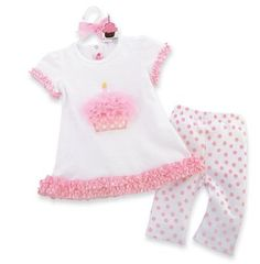Party Time Cupcake Tunic and Leggings, 2T/3T, Pink/White