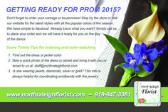 Front of postcard for North Raleigh Florist 2015 Prom Promotion. VA Business Help, Virtual Assistant Services. Graphic Designer.