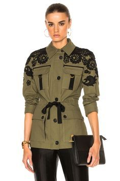 Veronica Beard Heritage Utility Jacket with Lace in Army Green | FWRD
