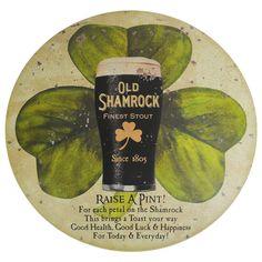 Old Shamrock Stout Dark Beer Tin Round Dome Button
