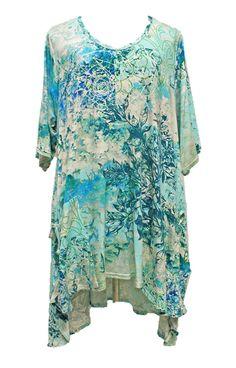 AKH Fashion Lagenlook elegante High-Low Tunika Kleid in türkis XL Mode bei www.modeolymp.lafeo.de