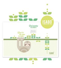isabo, sfondo desktop, desktop calendar, sloth illustration