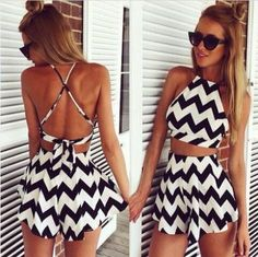 Black And White Striped Skirt Suit